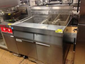 Frymaster Double 100 Fryer Bank Fplhd265 Filtration Open Chicken Fryer Nat Gas