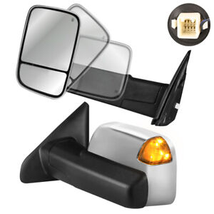 Chrome Housing Tow Mirrors Power Heated With Turn Signal For 2002 2008 Dodge Ram