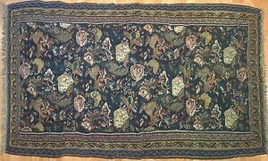 Beautiful Bijar 1900s Antique Gol Farang Rug Senneh Kilim 5 2 X 8 5 Ft