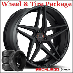 22 Blaque Diamond Bd8 Concave Black Wheels And Tires Fits Dodge Charger