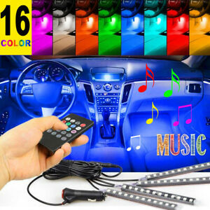 4pcs 12 Led Car Interior Atmosphere Neon Lights Strip Music Control Ir Remote