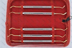 5 Composite Dental Filling Instrument Probe Scaler Gold Plated Spatula Plugger