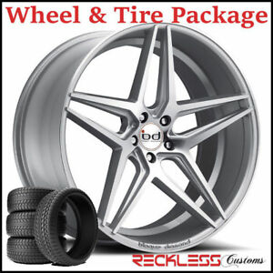 20 Blaque Diamond Bd8 Concave Silver Wheels And Tires Fits Chevy Malibu