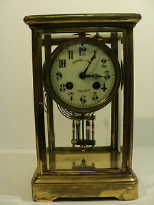 French Crystal Regulator Clock Double Barrel Pendulum C 1900