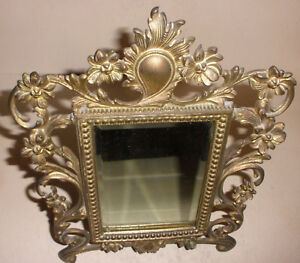 Antique Victorian Brass Mirror Ornate Flowers Frame 11 X8