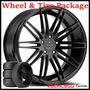20 Blaque Diamond Bd2 Concave Black Wheels And Tires Fits Chevy Malibu
