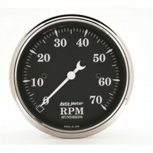 Auto Meter 1798 3 1 8 Old Tyme Black Electric Tachometer Gauge 0 7 000 Rpm