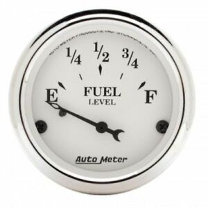 Auto Meter 1605 2 1 16 Old Tyme White Fuel Level Gauge 73 10 Ohm Air Core