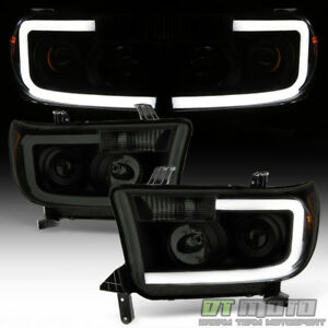 For New Design Blk Smoke 2007 2013 Toyota Tundra Led Tube Projector Headlights