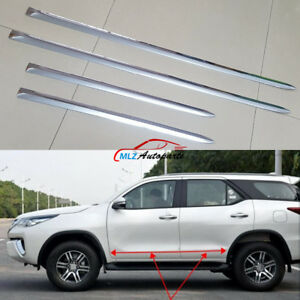 For Toyota Fortuner 16 18 Car Side Door Body Trim Molding Cover Stainless Steel