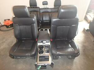 09 14 Ford F150 Front Rear Seat Console Black Leather Power Heated Oem