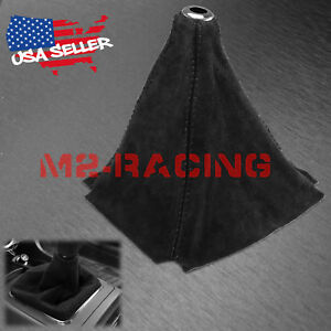 Genuine Leather Velvet Suede Shift Knob Boot Cover Black With Black Stitches