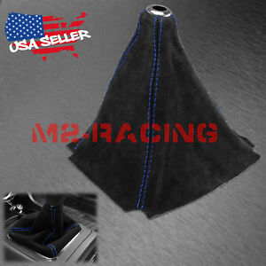 Genuine Leather Velvet Suede Shift Knob Boot Cover Black With Blue Stitches