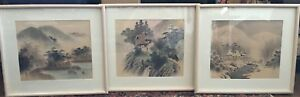 Set Of 3 Japanese Chinese Landscape Original Watercolor Painting On Silk Signed