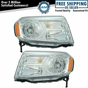 Halogen Headlight Headlamp Lh Rh Kit Pair Set Of 2 For 12 15 Honda Pilot Suv New