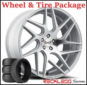 20 Blaque Diamond Bd3 Concave Silver Wheels And Tires Fits Chevy Malibu