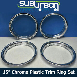 15 Chrome Abs Plastic Trim Rings 1 3 4 Depth Beauty Rings 1515p By Cci Set 4