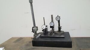 Granite Surface Plate 3 x12 x18 With 4 Dial Gages And V Block