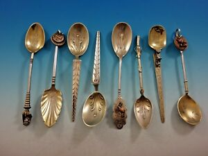 Brickabrack Gorham Sterling Silver Set 8 Spoons Copper Egyptian Coin Mixed Metal