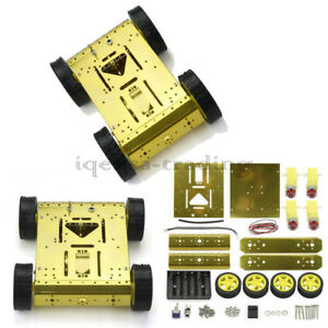Gold 4wd Drive Arduino Uno Mega2560 Robot Wheels Frame Aluminum Alloy Chassis