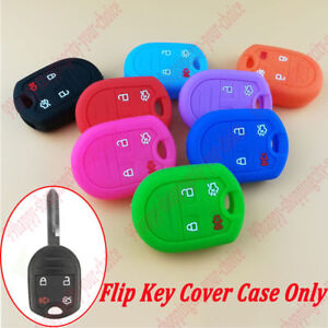 Flip Smart Remote Key Case Fob 4btn 4704 Bk Silicone Skin Cover For Ford Lincoln