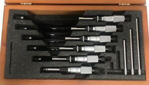 Starrett 436m Metric Outside Micrometer Set 0 150mm Range 0 01mm Graduation
