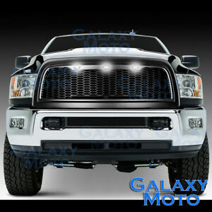 10 17 Ram 2500 3500 Raptor Matte Black Replacement Mesh Grille shell white 3xled