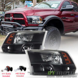 2009 2018 Dodge Ram 1500 10 18 2500 3500 Headlights Black Quad Style Headlamps