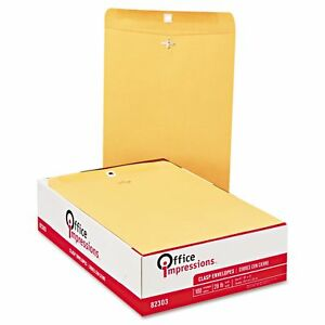 Office Impressions Clasp Envelopes 10 X 13 Brown Kraft 100 Count 2 pack