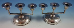 Maciel Mexican Mexico Sterling Silver Candelabra Pair 3 Light 1665 Modernist