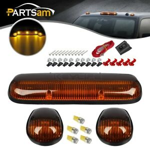 3xamber Top Roof Cab Clearance Lights 5xw5w 5050 Amber Leds wire For 02 07 Chevy