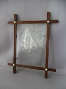 Antique Vtg Eastlake Criss Cross Wood Picture Frames W Porcelain Buttons