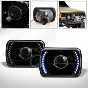 Universal 7x6 Black Drl White Led Sealed Beam Projector Head Lights Lamps H4 C06