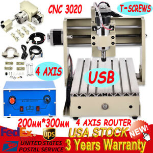 Usb Desktop 4 Axis 3020 300w Diy Cnc Router Engraver Engraving Milling Drilling