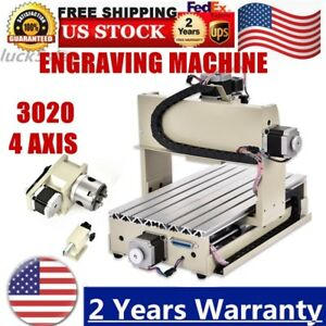Usb 4 Axis 3020 Cnc Router Engraver 3d Drilling Milling Machine Wood