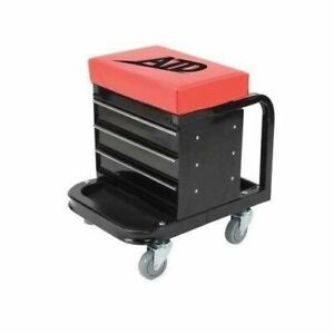 New Mechanics Work Stool Garage Seat Red Black Creeper Shop Rolling Toolbox Tool