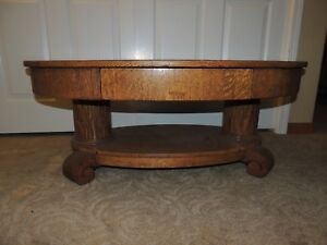 Antique American Oval Quartersawn Oak Coffee Table