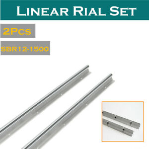 2x Sbr12 1500mm Fully Supported Linear Rail Slide Shaft Rod For Cnc 3d Printer