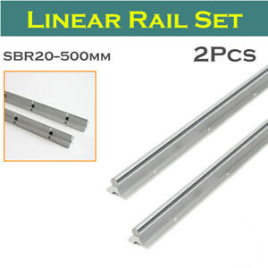 2x Sbr20 500mm For Cnc Fully Supported Linear Rail Shaft Rod Guide