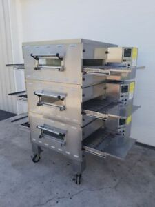 Middleby Marshall Triple Stack Ps536gs Gas Conveyor Pizza Ovens 20 Belt Width
