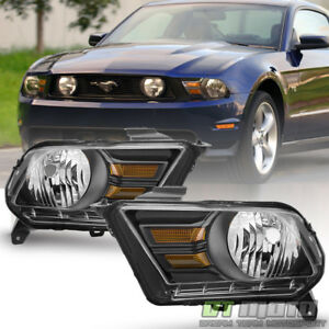 Black 2010 2014 Ford Mustang Headlights Lights Lamps Headlamps Left right Pair