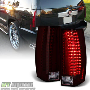 Red Smoke 2007 2014 Cadillac Escalade Esv Led Tail Lights Lamps 07 14 Left Right