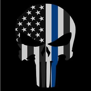 Punisher Skull American Flag Police Thin Blue Line Life Sticker Decal Usa Made
