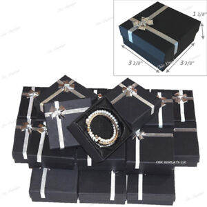 Lot Of 48 Black Bracelet Boxes Bangle Box W bow Tie Wholesale Jewelry Boxes