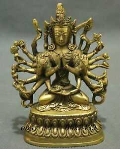 China Tibetan Buddhism Copper Buddha Avalokiteshvara Exorcism As505