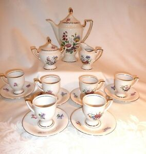 Tea Coffee Espresso Set 22k Gold Waldershof Bavaria Germany Handarbeit 17 Pc