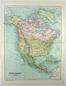 Original 1909 Map Of North America By John Bartholomew Co