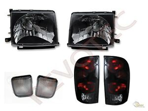Black Headlights Front Signal Tail Lights Lamps For 98 99 00 Toyota Tacoma 4wd