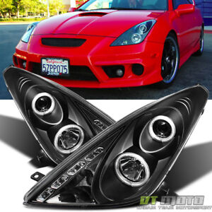 For Black 2000 2005 Toyota Celica Led Halo Projector Headlights Lamps Left Right