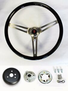 67 68 Grand Prix Gto Firebird Le Mans Black Wood Steering Wheel High Gloss 15